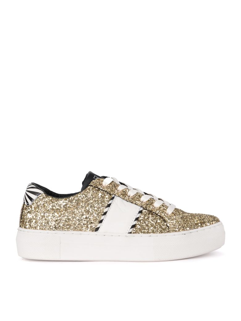 M.O.A. master of arts Moa Black And White Leather Sneaker With Golden Sequins - ORO