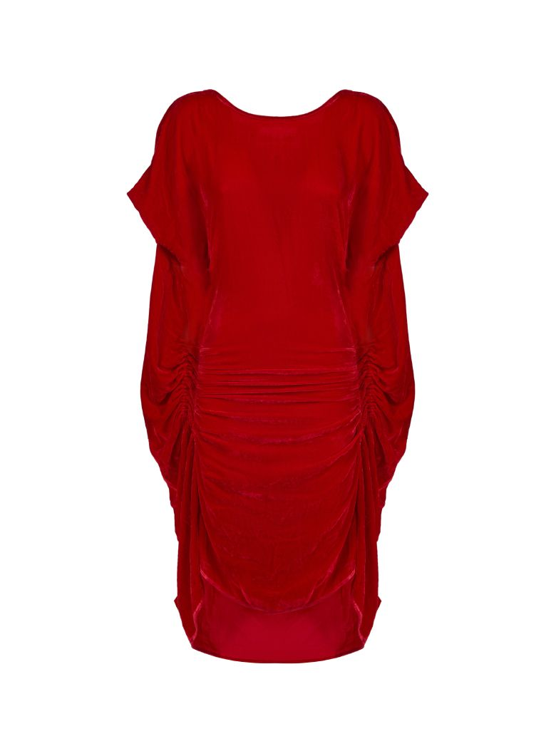 Paula Knorr Ruched Midi Dress - Rosso