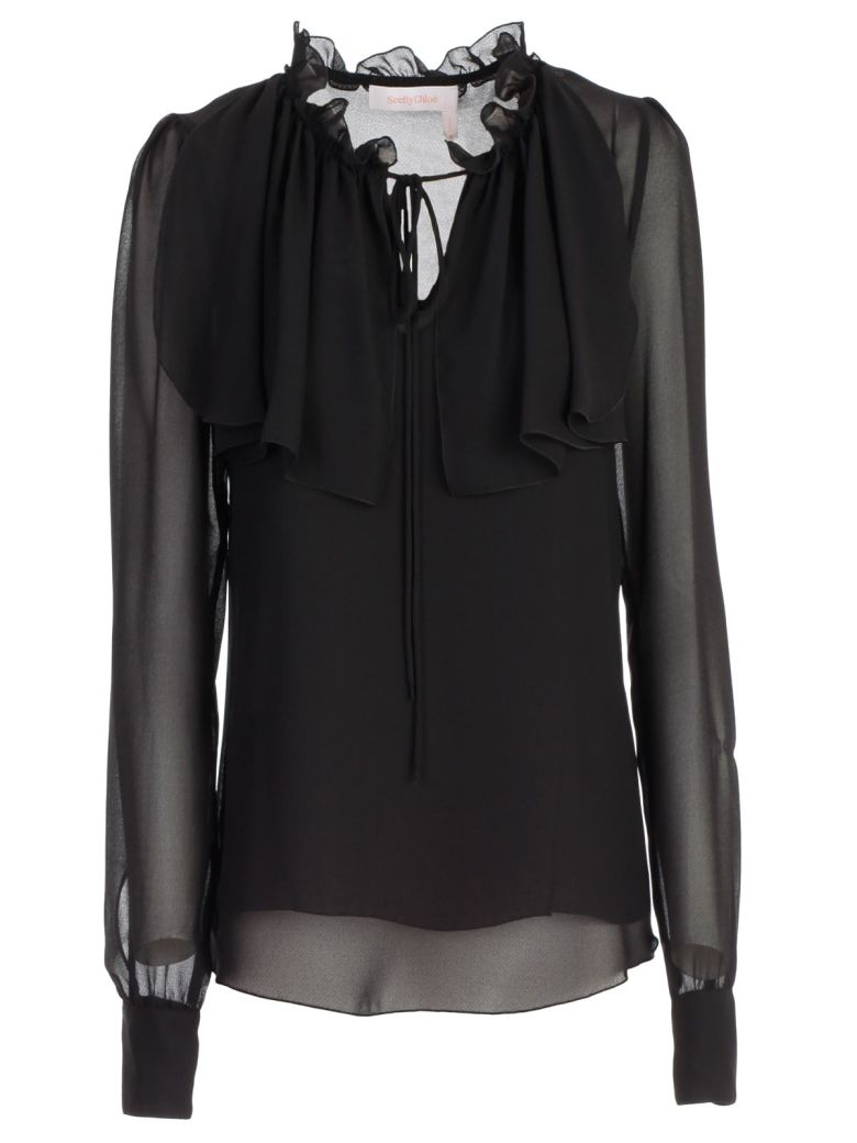 See by Chloé Frilled Neck Blouse - Black