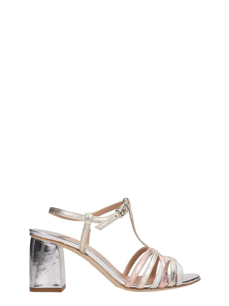 Julie Dee Silver And Beige Leather Sandals - silver