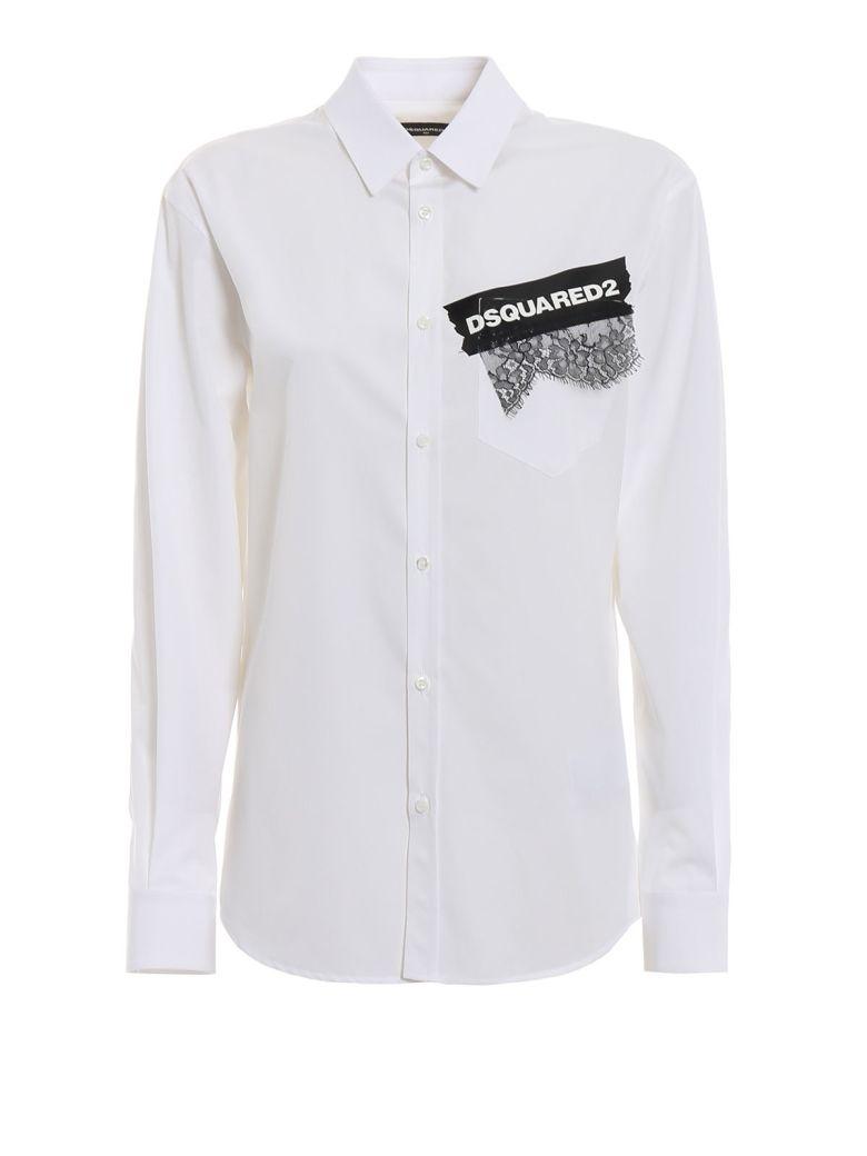 Dsquared2 Printed Lace Applique Shirt - White