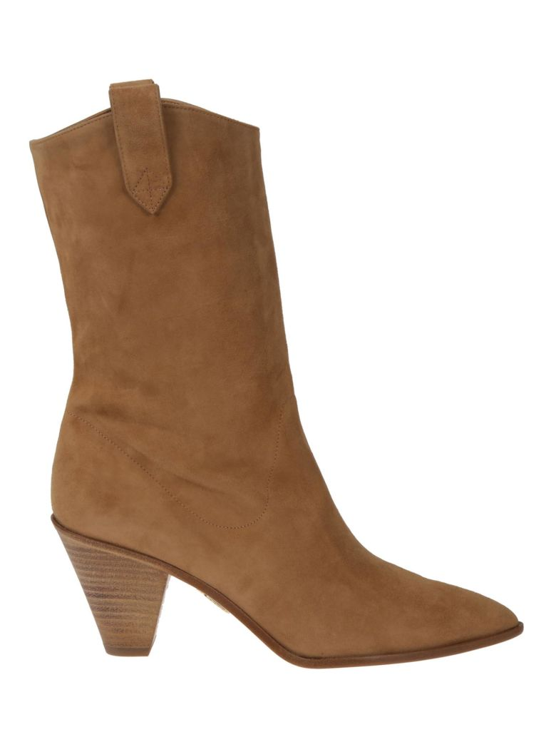 Aquazzura Boogie Cowboy Ankle Boots - CAMEL