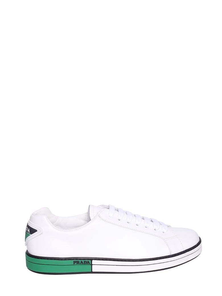 Prada Linea Rossa Low-top Laced-up Sneakers - Bianco/verde