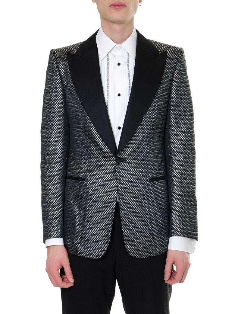 Dolce & Gabbana Blazer Jacquard Single Breast Jacket - Silver/black