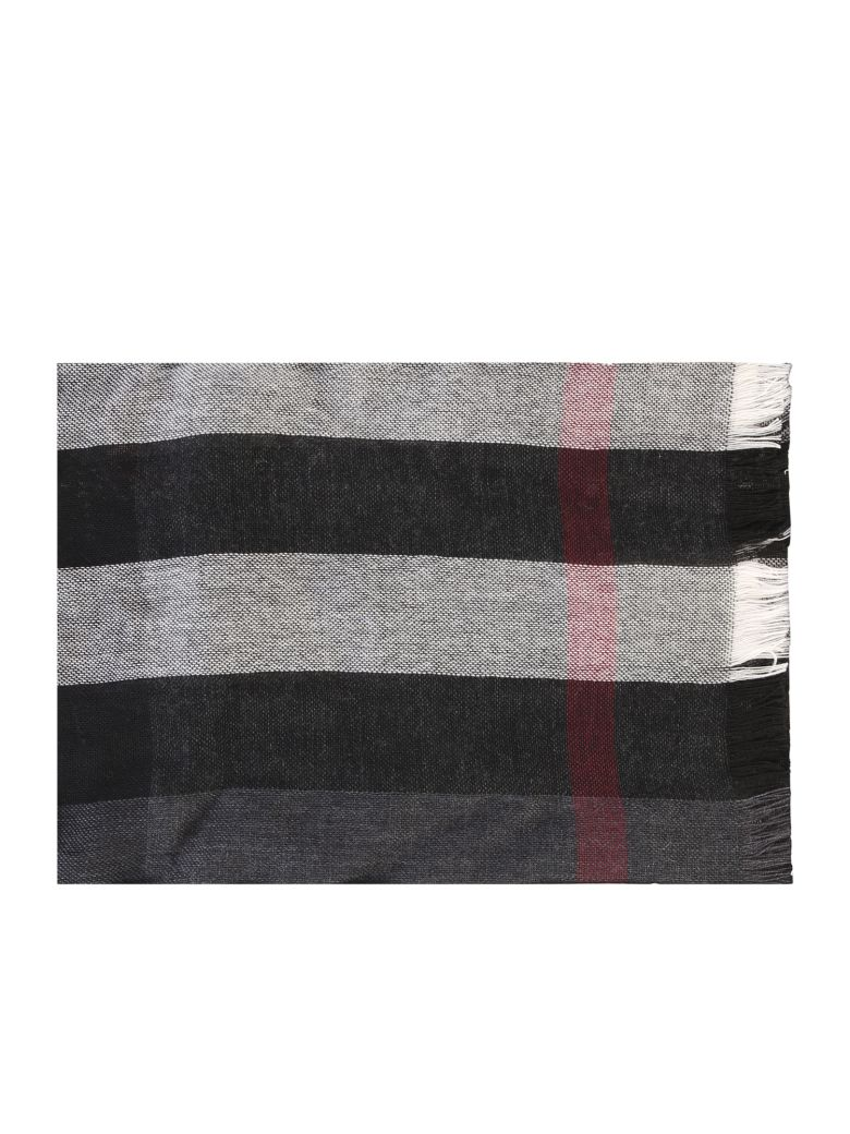Burberry Merino Wool And Cashmere Scarf - Black