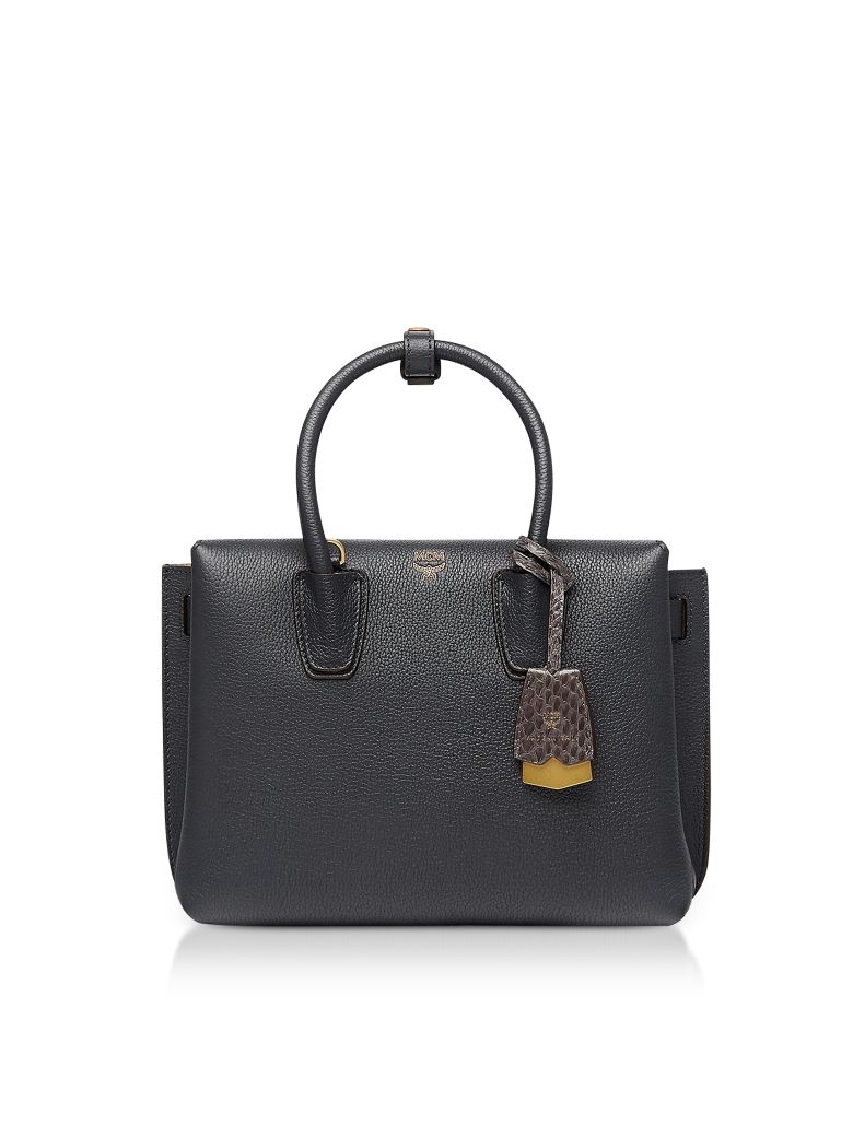MCM Phantom Gray Grained Leather Milla Small Tote - Gray