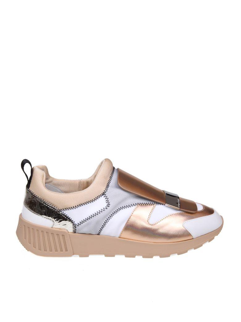 Sergio Rossi Sneakers Sr1 Leather And Fabric Color Copper And White - Multicolor