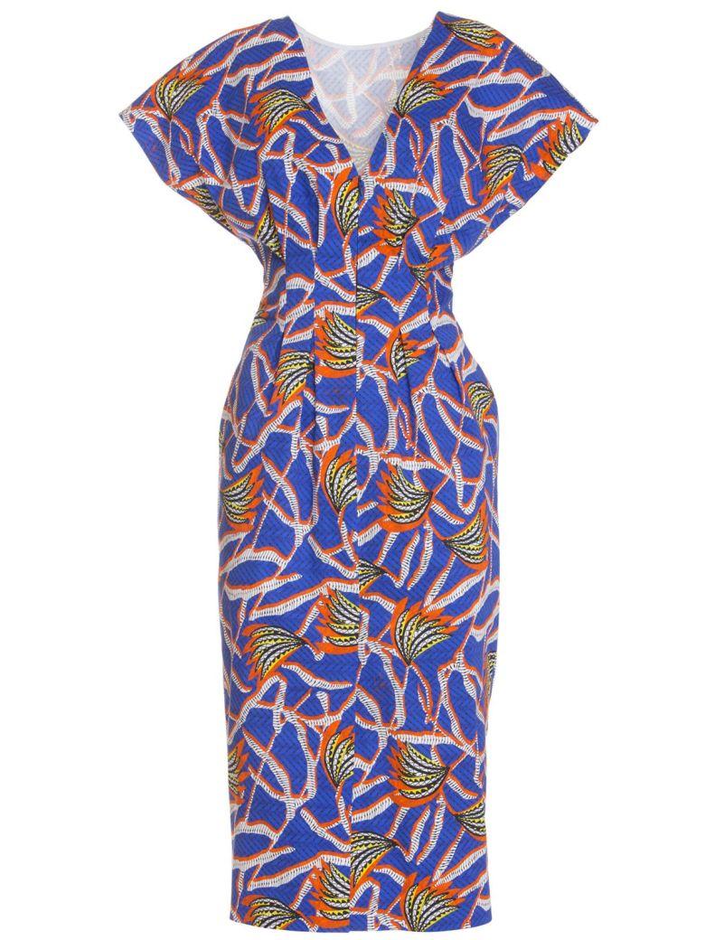 Stella Jean Cotton Midi Dress In Blue - BLU