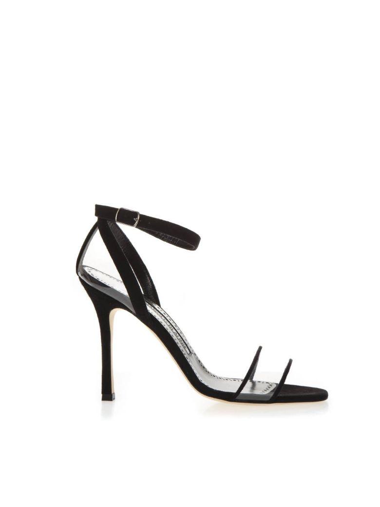 Manolo Blahnik Black Leather & Pvc Sandals - Black