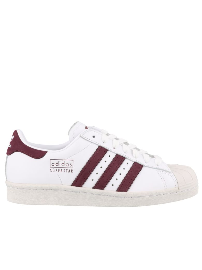 Adidas Originals Superstar 80s Sneakers - White/maroon