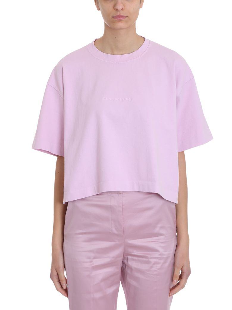 Acne Studios Pink Cotton T-shirt 28 Cylea Emboss - rose-pink