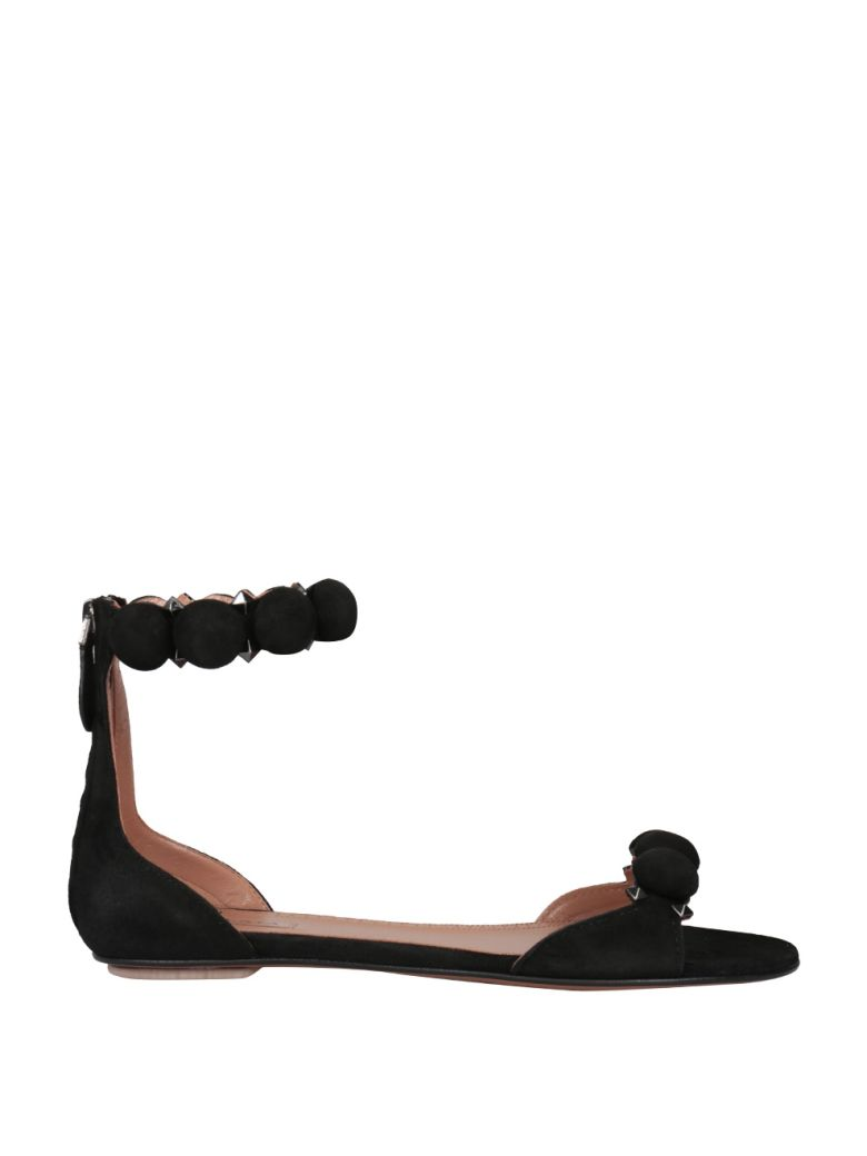 Alaia Studded Suede Sandals - NERO