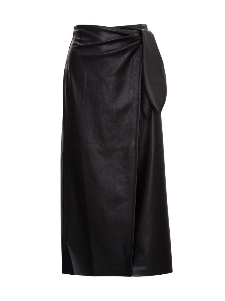 Nanushka Wrap Midi Skirt In Vegan Leather - Black