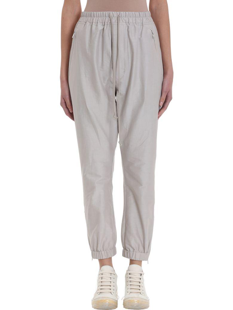 Rick Owens Track Pants Grey Cotton - grey