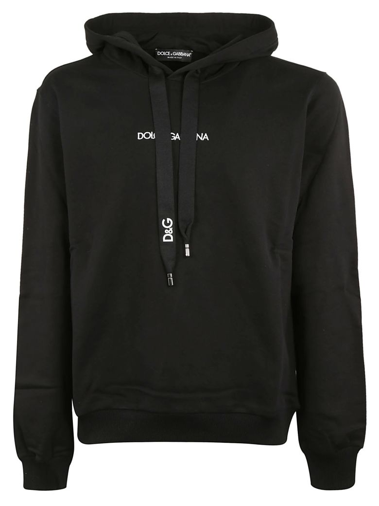 Dolce & Gabbana Logo Embroidered Hoodie - Black