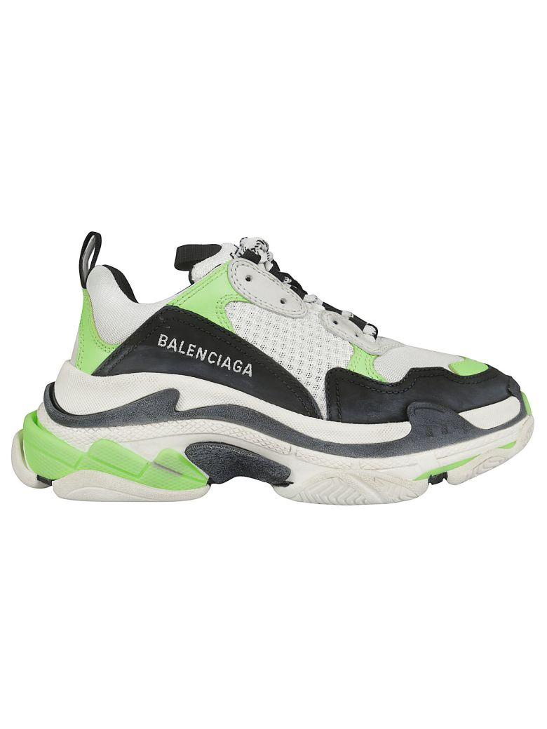 Balenciaga Triple S Logo Detail Sneakers - Blanc Vert Noir