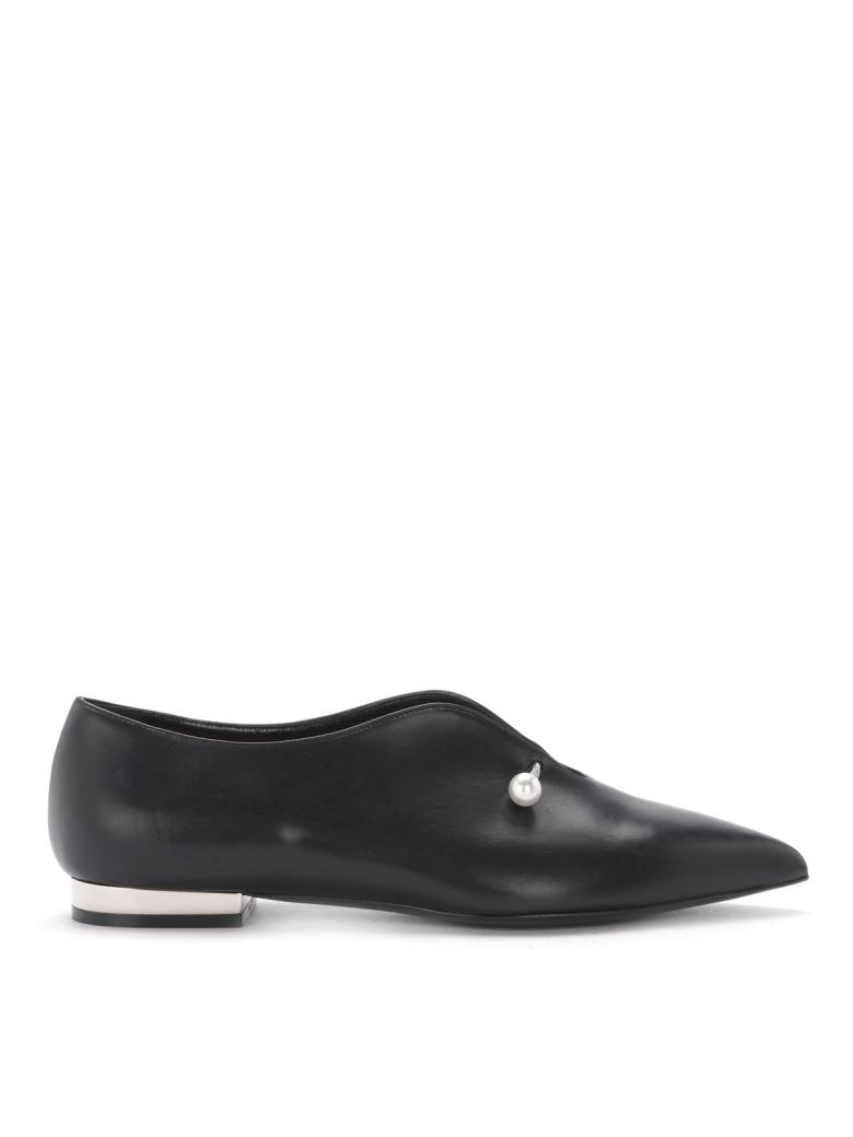 Coliac Giada Black Leather Jewel Flat Shoes - Black