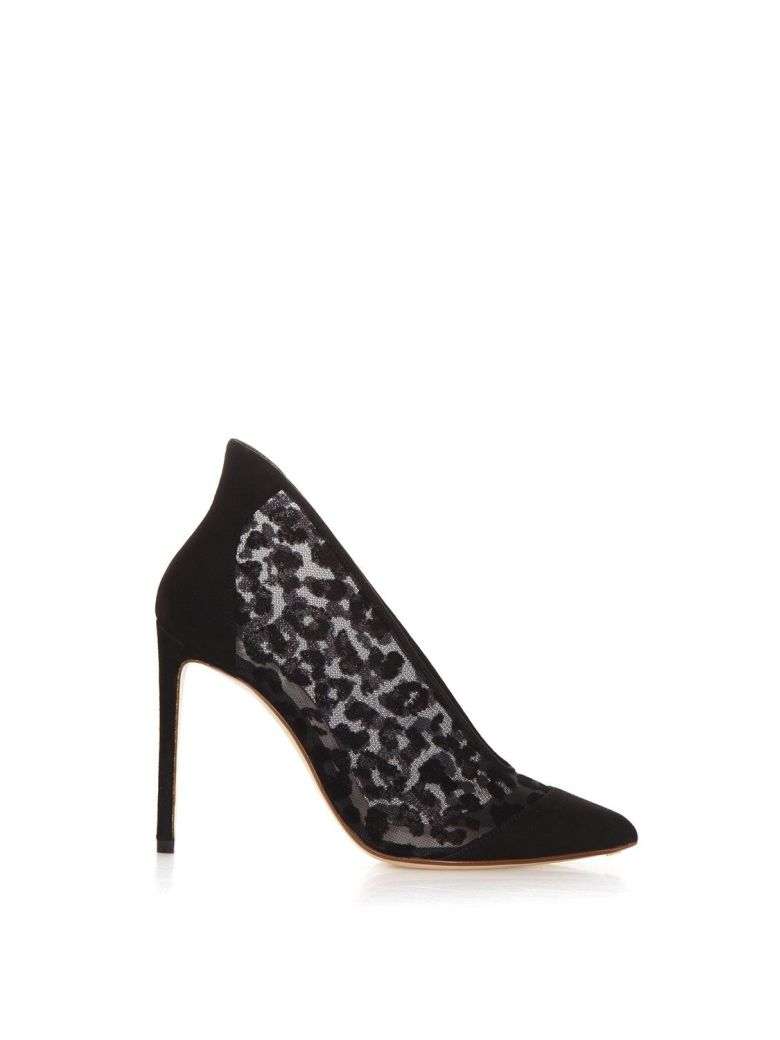 Francesco Russo Leopard Velvet And Suede Decollete - Black