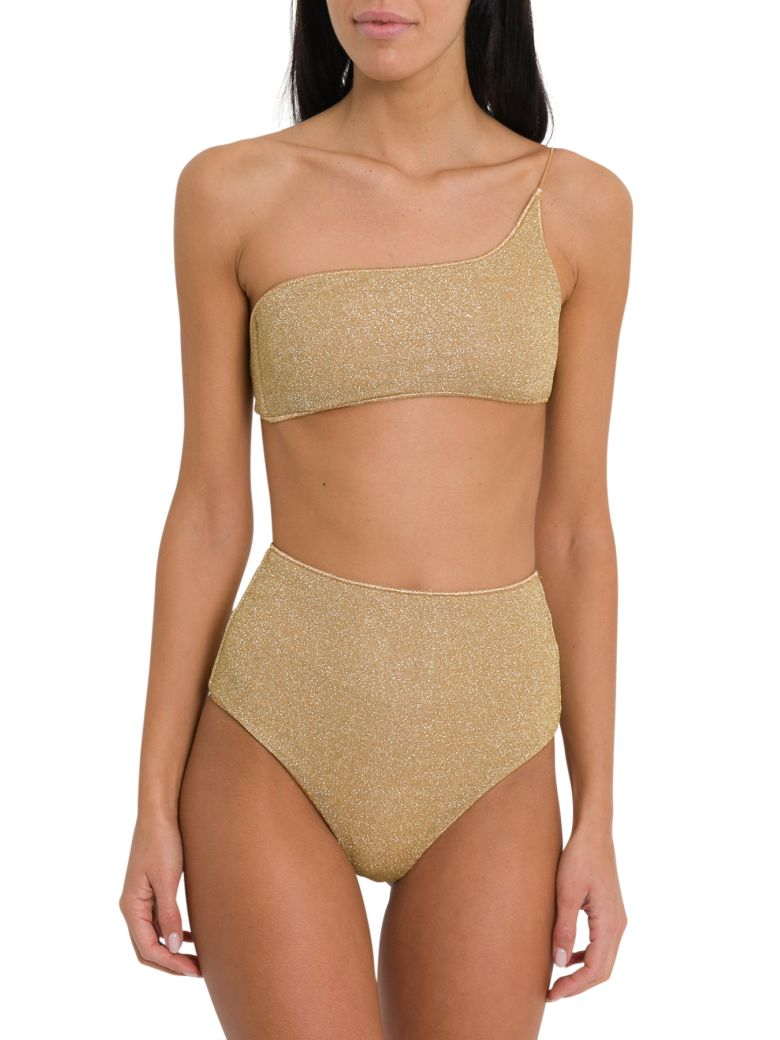 Oseree Lumiere One Shoulder High Waisted Bikini - Oro