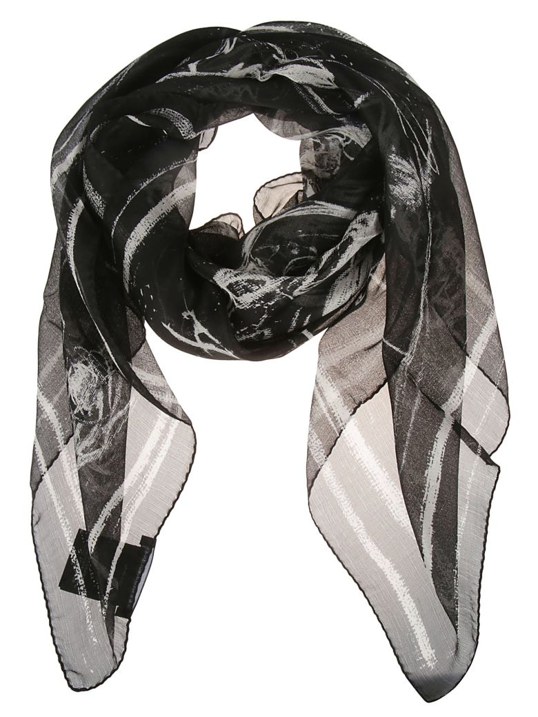 Alexander McQueen Checked Scarf - Black/ivory