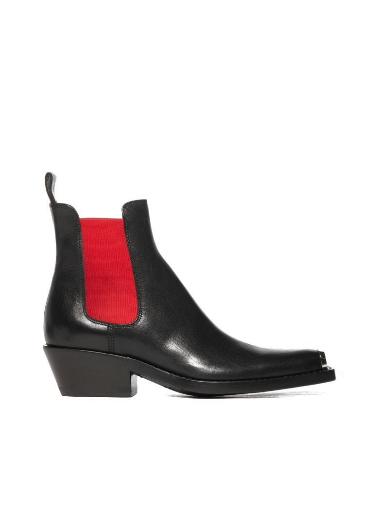 Calvin Klein Leather Ankle Boots - Nero rosso