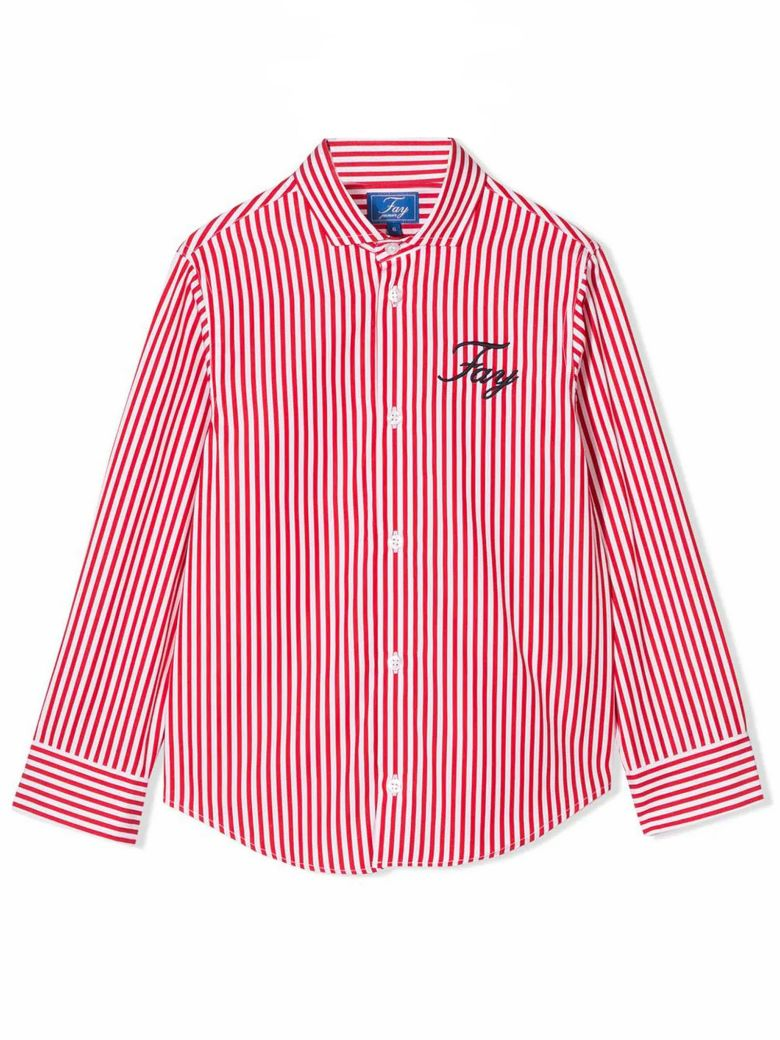 Fay White And Raspberry Red Cotton Shirt - Bianco+rosso