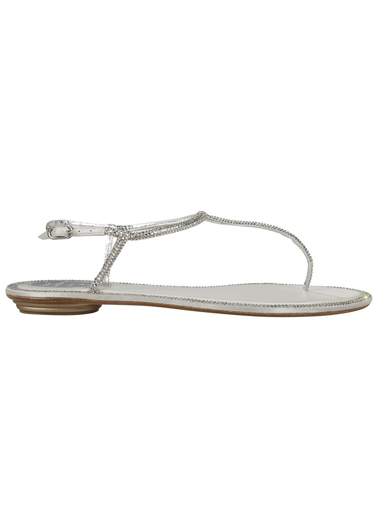 René Caovilla Embellished T-bar Flat Sandals - Basic