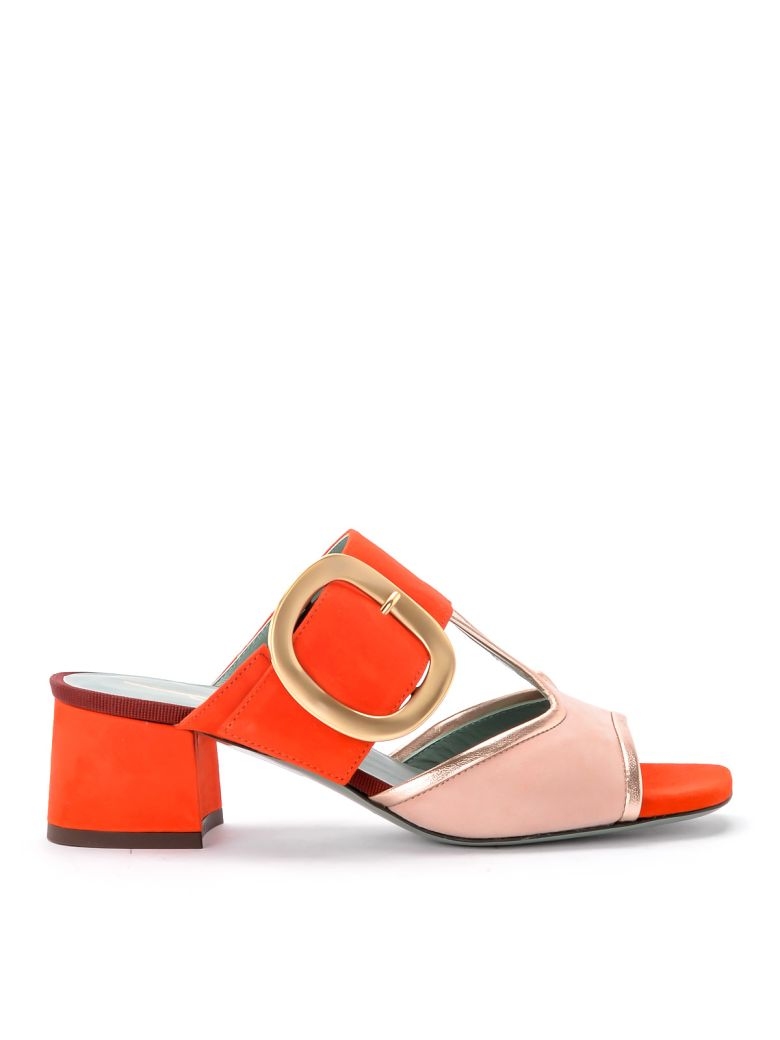 Paola D'Arcano Tory Pink And Coral Suede Sandal. - ARANCIONE