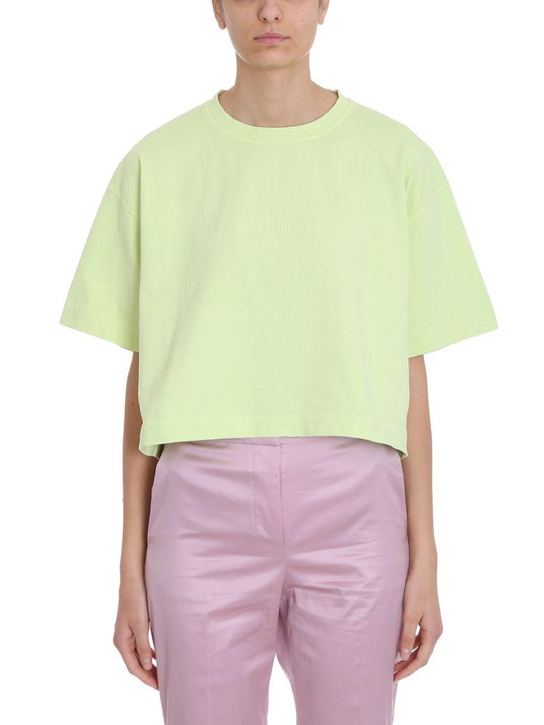 Acne Studios Yellow Cotton T-shirt 28 Cylea Emboss - green