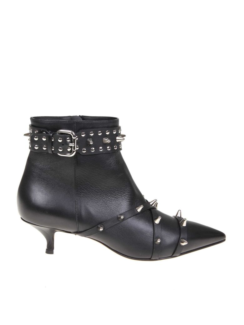 RED Valentino Black Leather Ankle Boots - Black