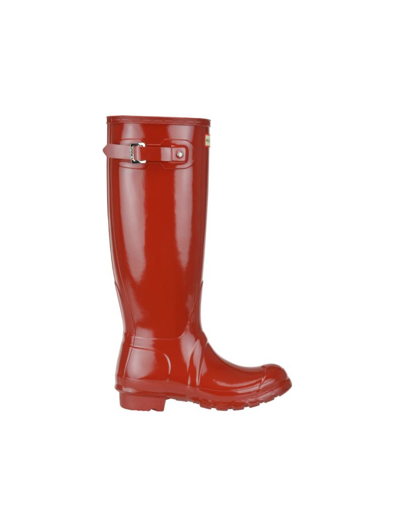Hunter Tall Gloss Boots - Military red