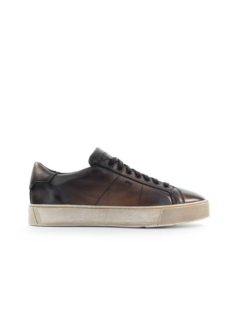 Santoni Dark Brown Leather Sneaker - T.Moro (Brown)