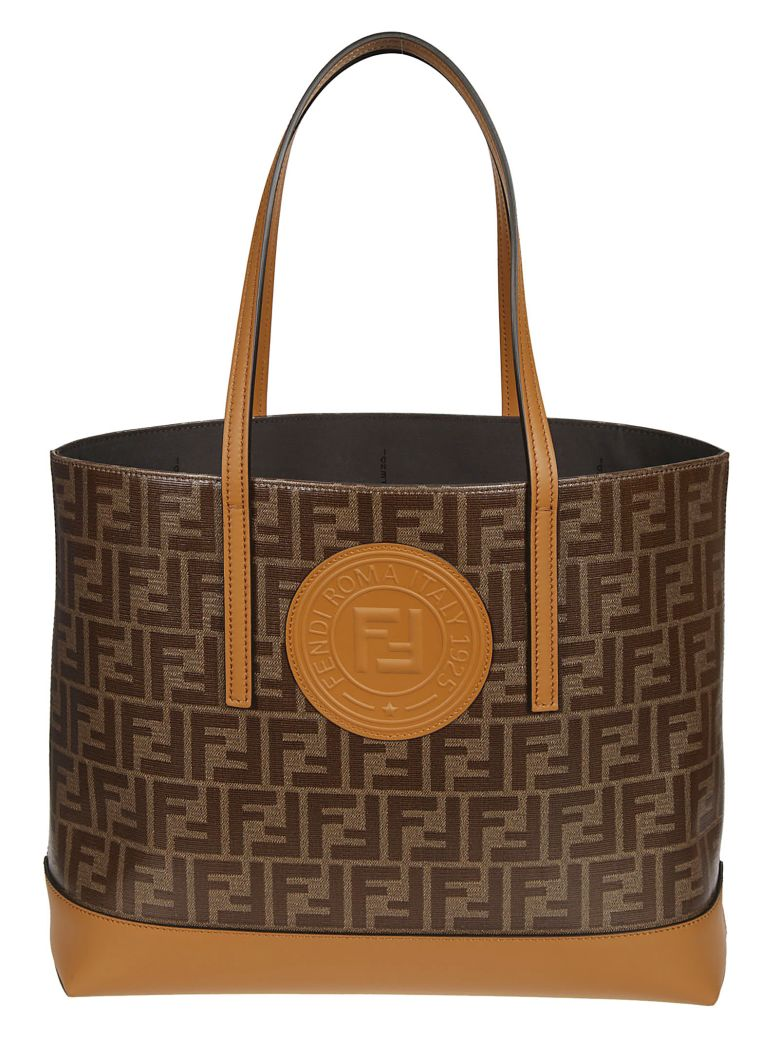 Fendi Double F Logo Tote - Brown