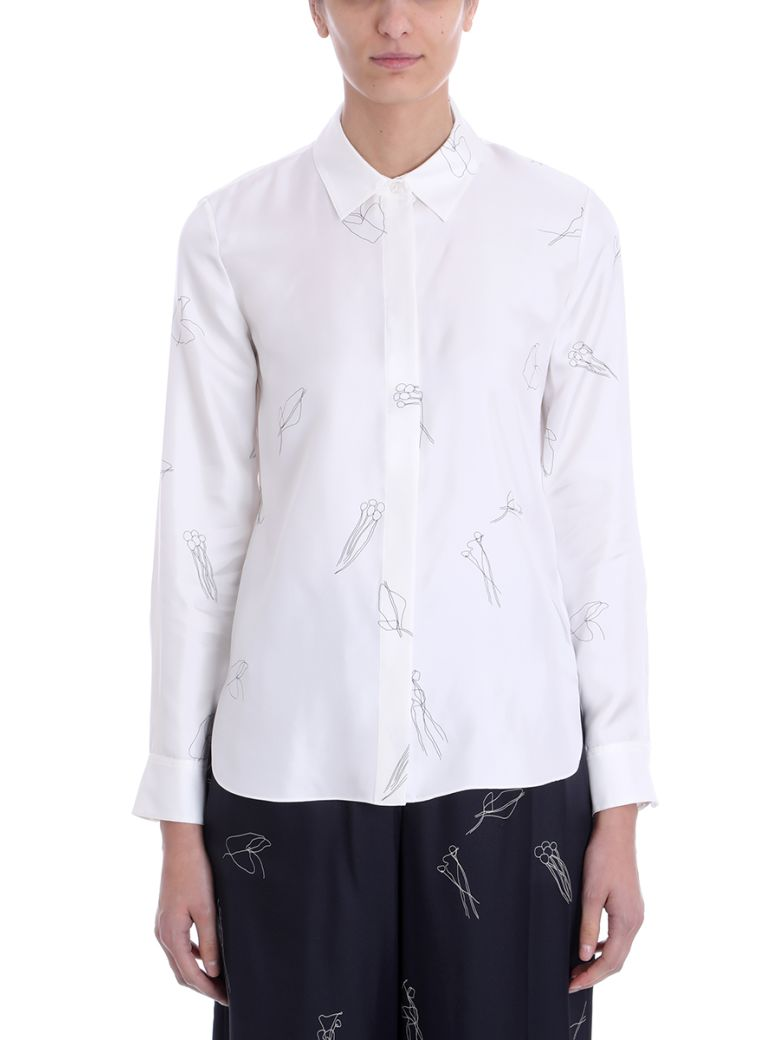 Theory White Silk Concealed Front Shirt - white
