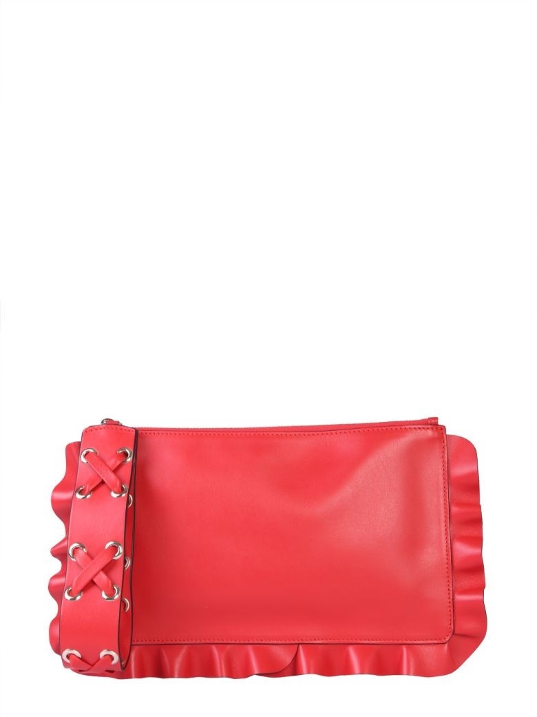 RED Valentino Clutch Rock Ruffles - ROSSO