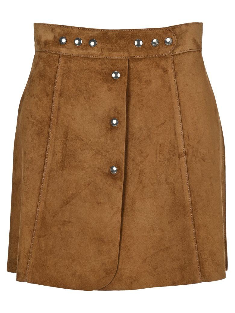 Prada Suede Mini Skirt - BROWN