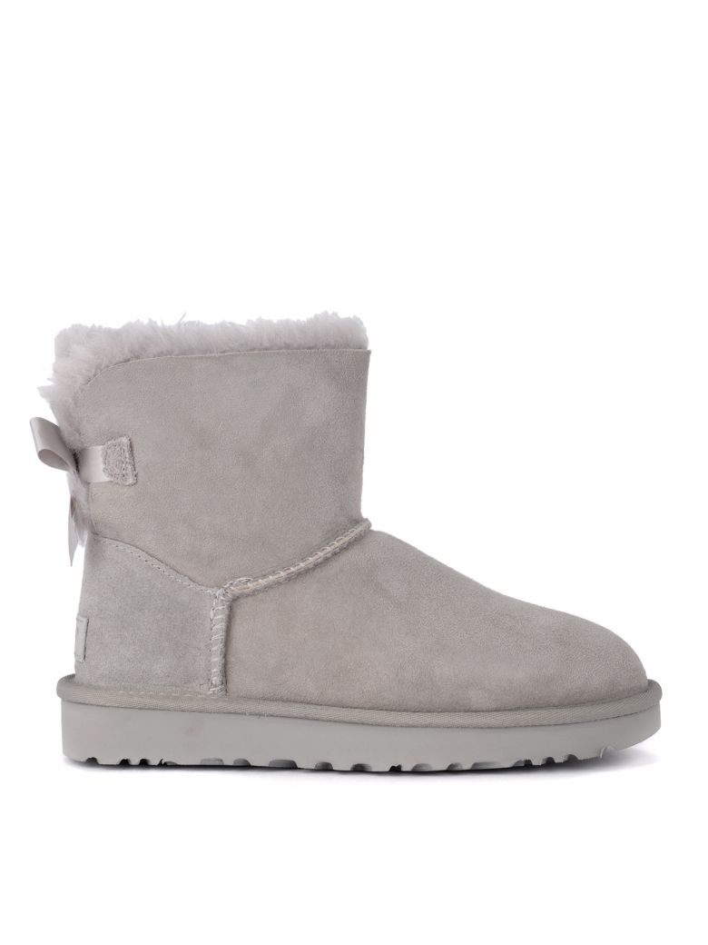 UGG Bailey Mini Grey Suede Ankle Boots With Bow. - Gray