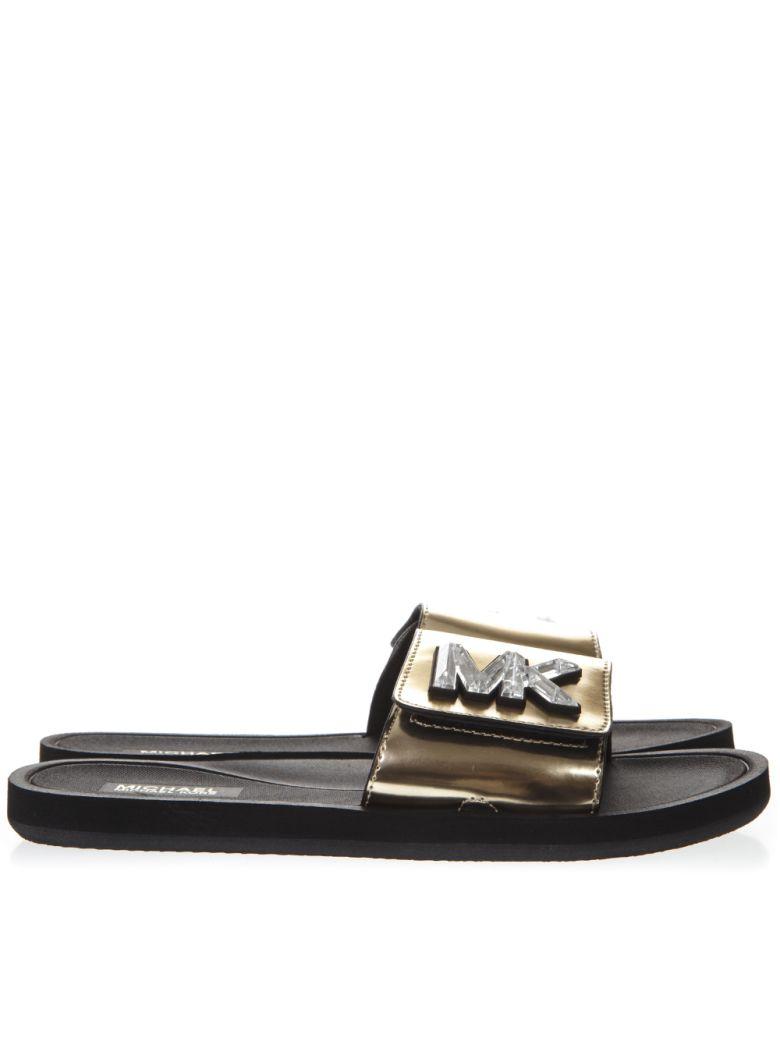 MICHAEL Michael Kors Metallic Gold Leather Slides With Mk Logo - Pale gold
