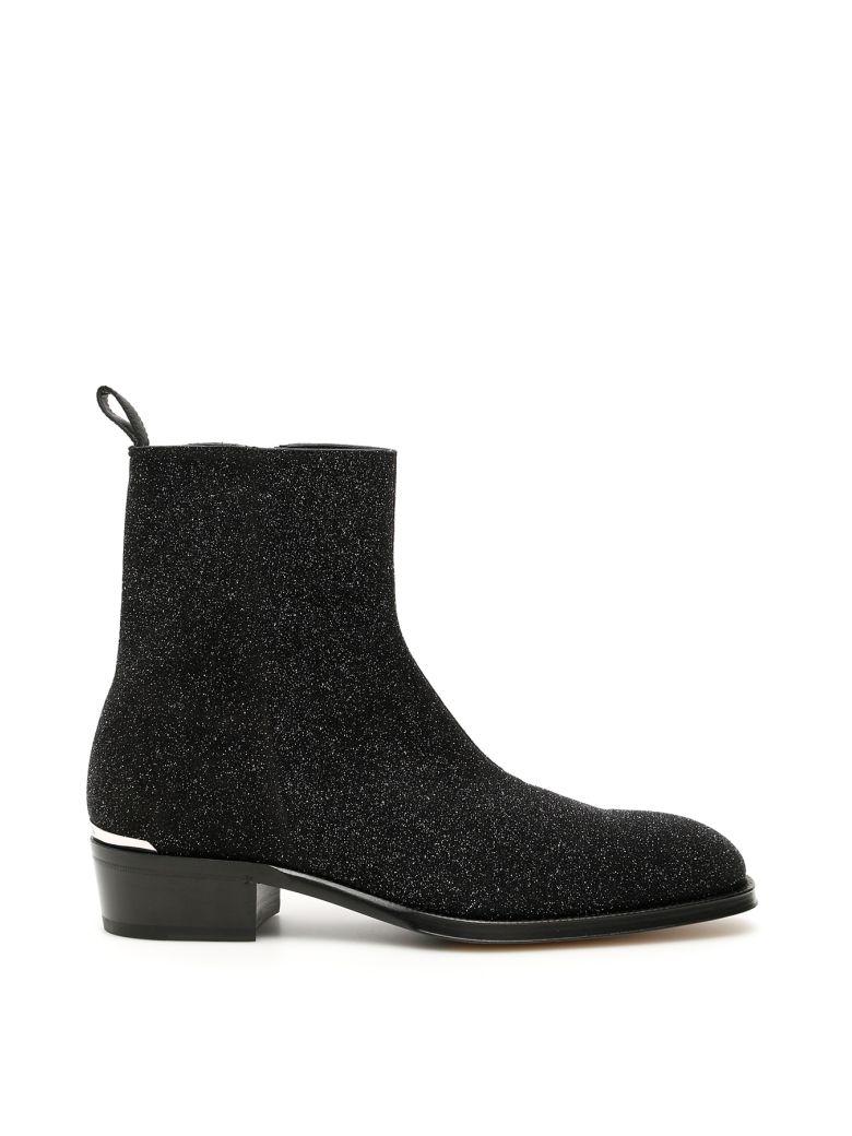 Alexander McQueen Glitter Boots - GALAXY BLK GUNMETAL (Black)