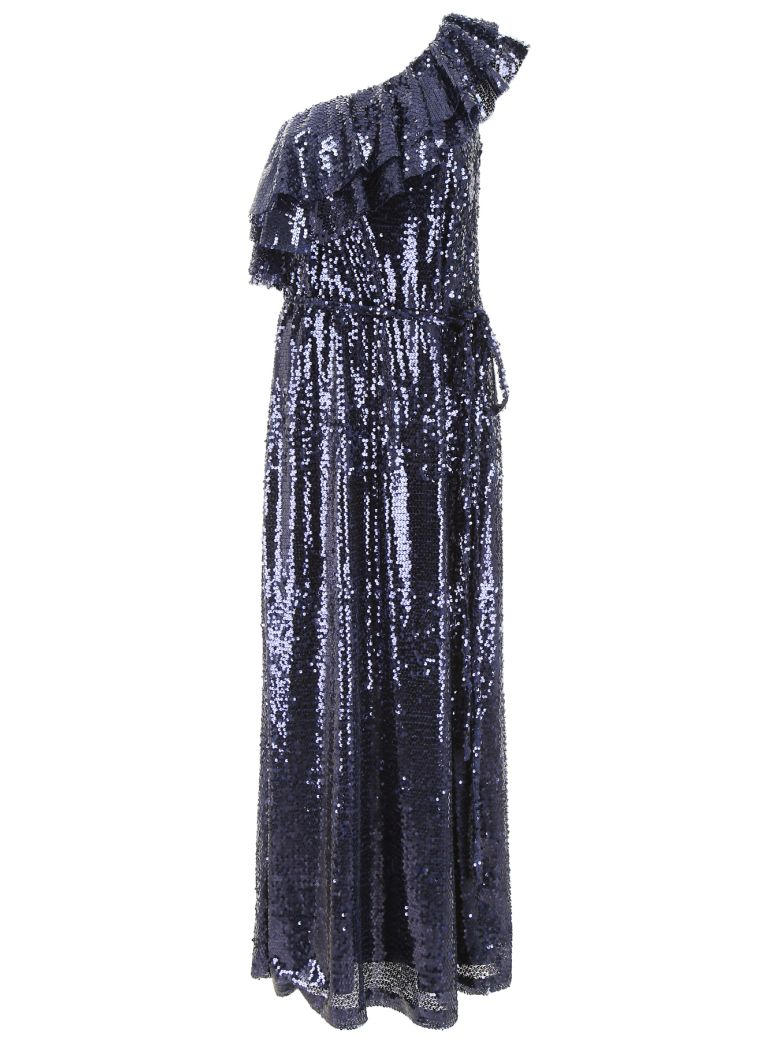 In The Mood For Love One-shoulder Dress With Sequins - NAVY (Blue)