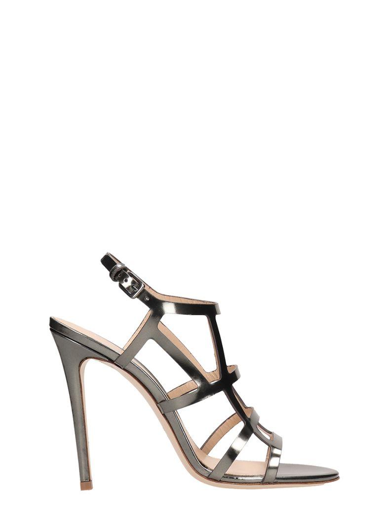 Dei Mille Silver Mirror Leather Sandals - silver