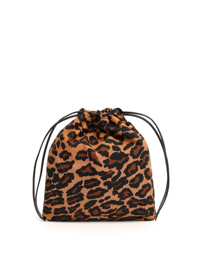 Miu Miu Leopard-printed Pouch - KHAKI DISANIMALIER (Brown)
