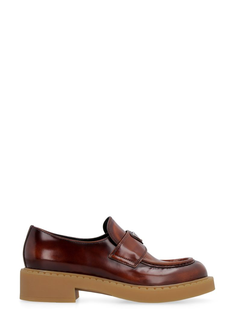 Prada Brushed Leather Loafers - brown