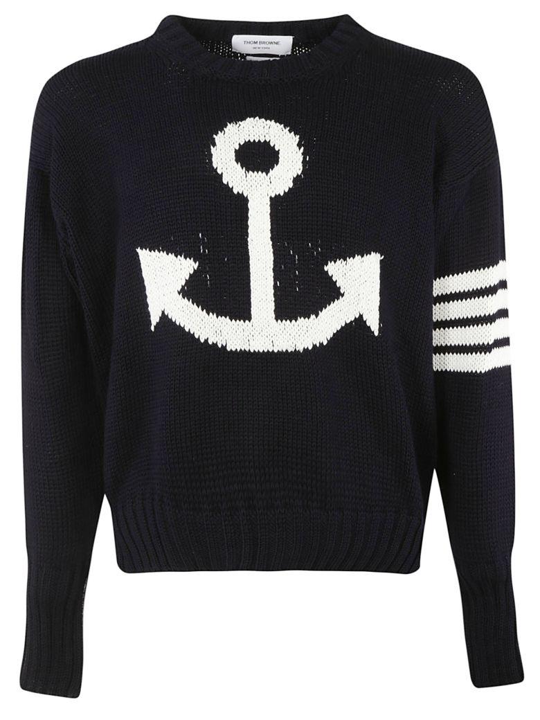 Thom Browne 4-bar Anchor Icon Sweatshirt - Blue