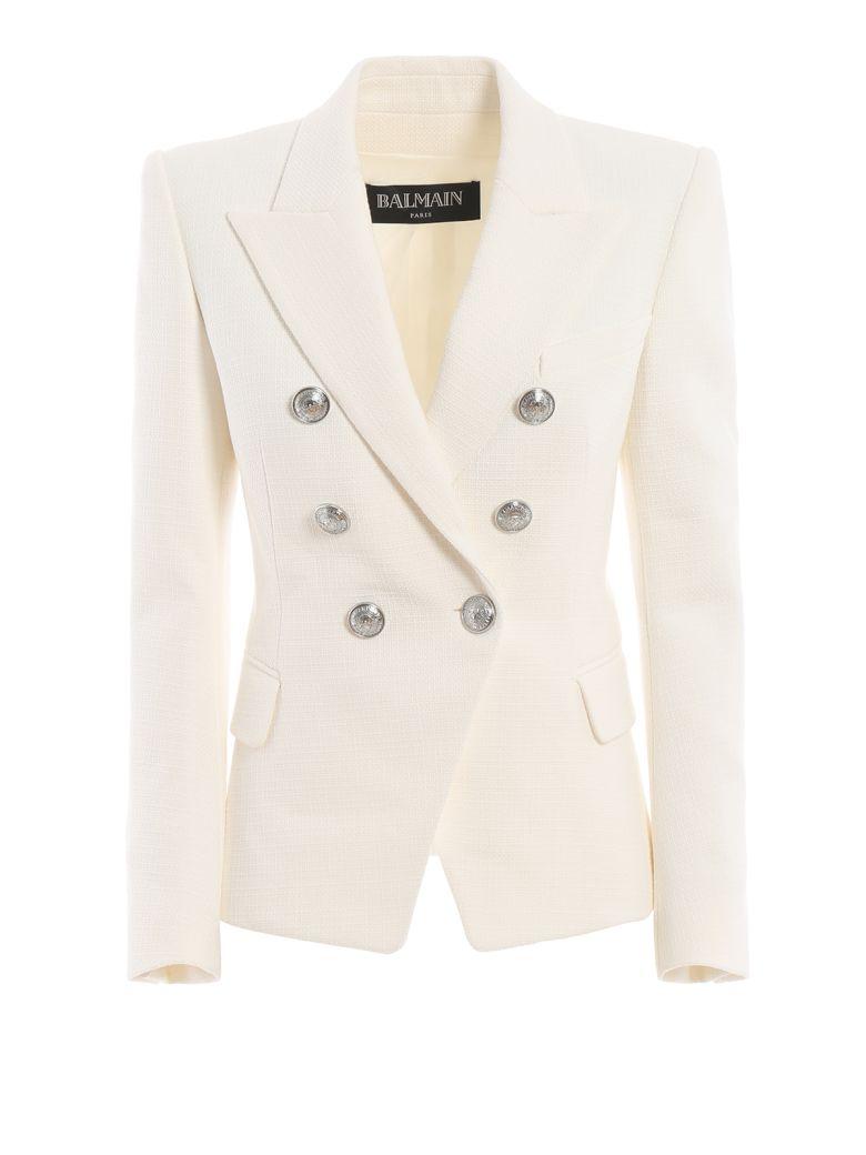 Balmain Cotton Natte Double-breasted White Blazer - White