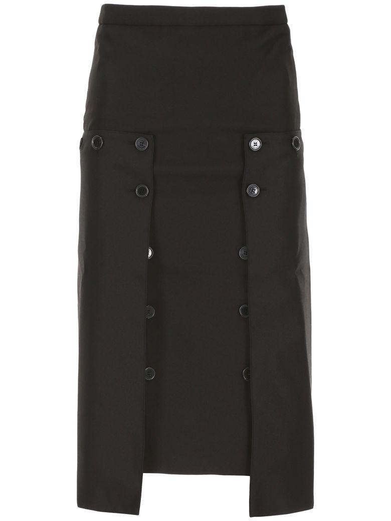 Rokh Pleated Panel Skirt - BLACK (Black)