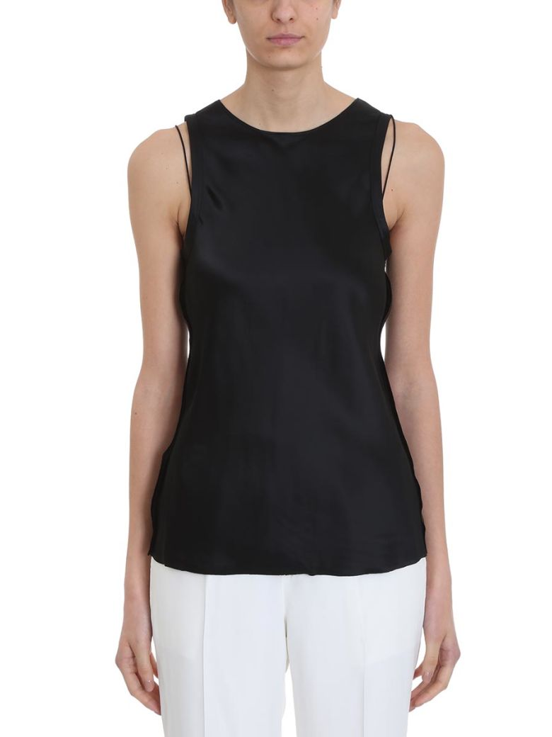 Helmut Lang Raw Double Slip Tank Top - Black