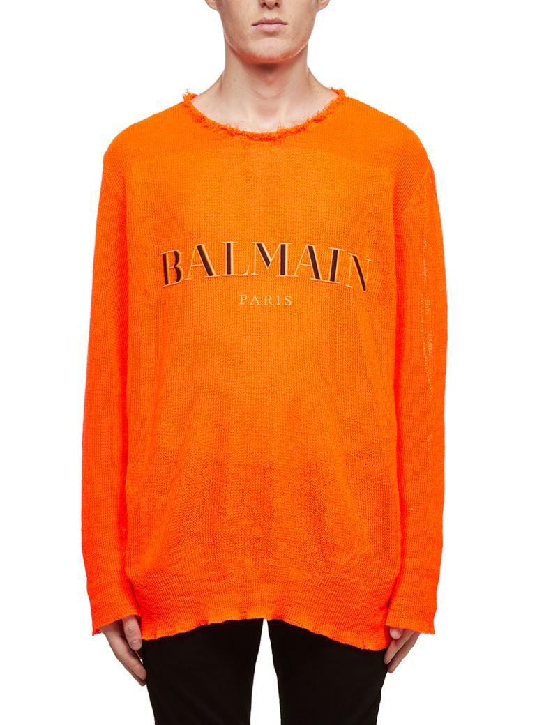Balmain Embroidered Logo Sweater - Arancio fluo