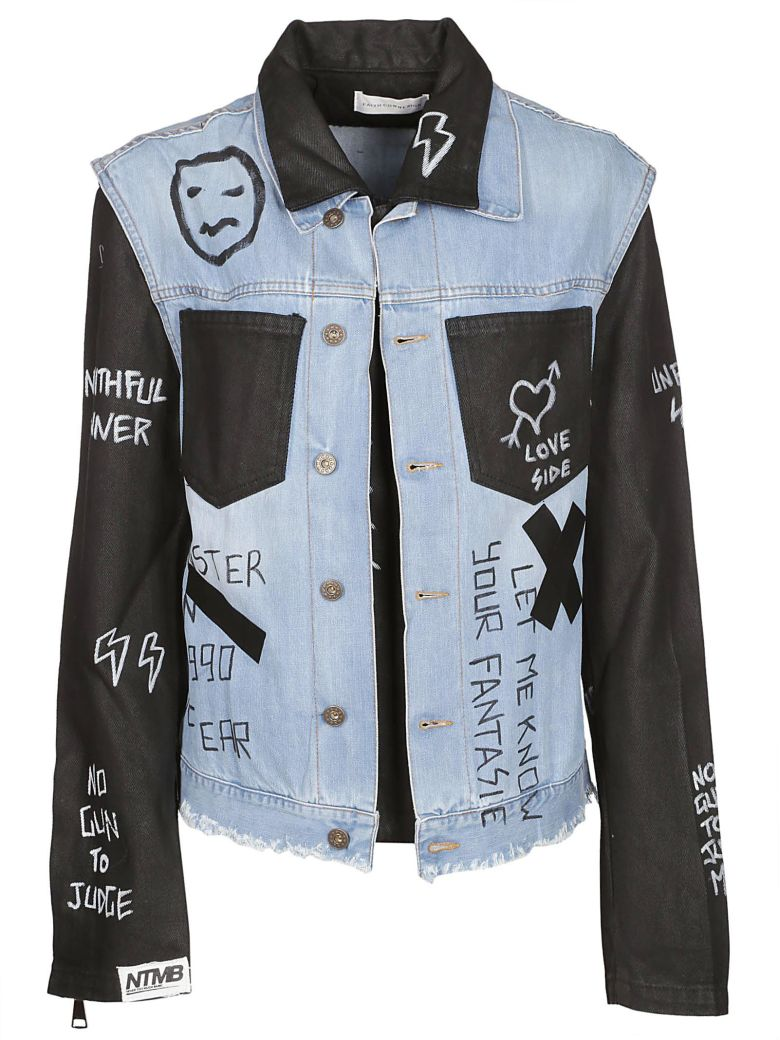 Faith Connexion Contrast Panel Doodle Denim Jacket - Indigo