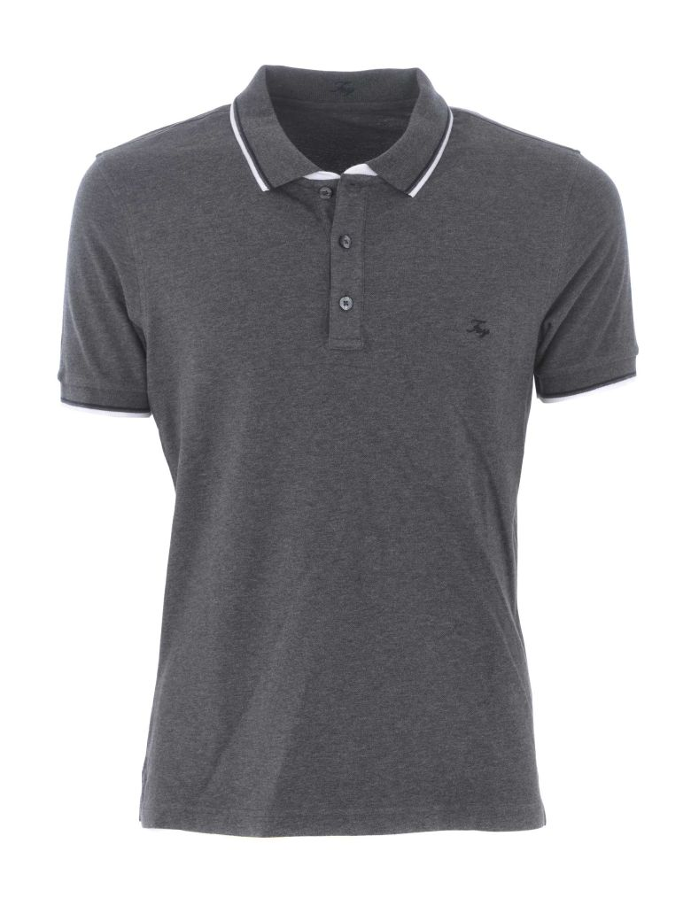 Fay Embroidered Logo Polo Shirt - Grigio antracite